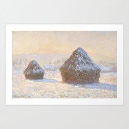 Claude Monet - Wheatstacks, Snow Effect, Morning (Meules, Effet de Neige, Le Matin).jpg Art Print