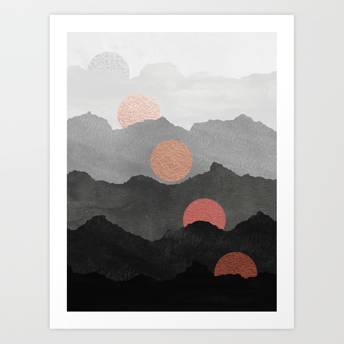 Mountains and the Moon - Black - Silver - Copper - Gold - Rose Gold Kunstdrucke