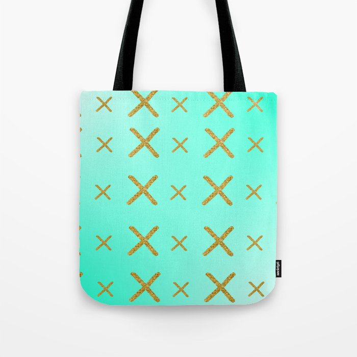 blue with gold x pattern Tote Bag