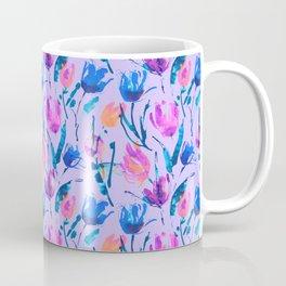 Tulip fever (floral seamless pattern in lilac, ultramarine, magenta, blue, orange colours) Coffee Mug