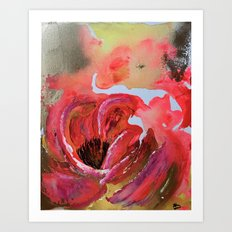 Golden Gloomy Garden Flower Art Print