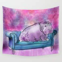 animals in chairs #9 variations on a theme Hippo Wall Tapestry
