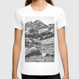 Maroon Bells Black and White T-shirt