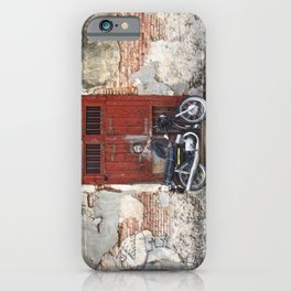 Irrational Fears - Dinosaur Chasing Boy On Motorcycle iPhone Case