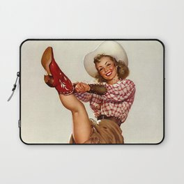 Pin Up Girl Cowgirl Trying on Cowboy Boots Laptop Sleeve