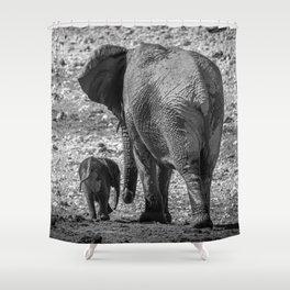 B&W Elephant Love 5 Shower Curtain