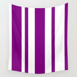 Mixed Vertical Stripes - White and Purple Violet Wall Tapestry