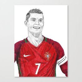 Cristiano Ronaldo Ballpoint Pen Drawing Canvas Print