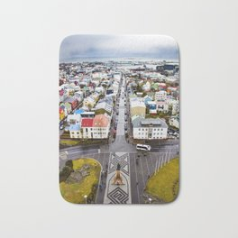 Looking Down on the Colored Buildings Down to the Sea in Reykjavik Bath Mat