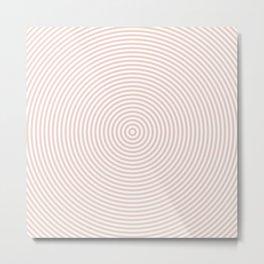 Millennial Pink & White Concentric Circles Pattern Metal Print