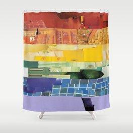 Rainbow Pride Flag (6 Stripe Version) Collage Shower Curtain