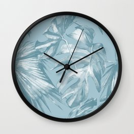Island Dream Teal Palm Leaves Wall Clock