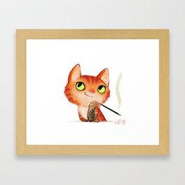 tattooed cat Framed Art Print