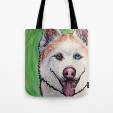 Red Siberian Husky Tote Bag