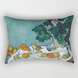Paul Cézanne - Still Life with Apples and a Pot of Primroses (1890) Rectangular Pillow