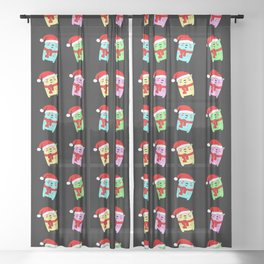 Cute funny Christmas baby bears with a red Santa hat winter pattern Sheer Curtain
