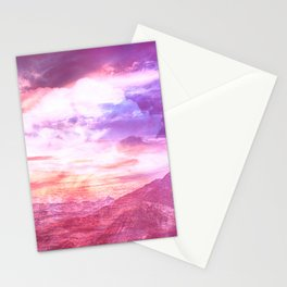 Abstract Landscape Purple Pink Stationery Cards