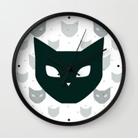 because cats Wall Clocks featuring Cats Cats Cats by Be Kindly