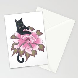 Black Cat on Flower Stationery Cards