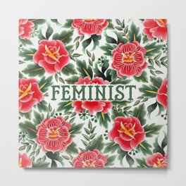 Feminist - Vintage Floral Tattoo Collection Metal Print