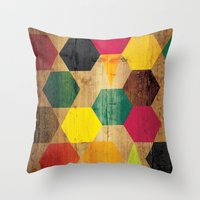 bebop Throw Pillows featuring Wood Prints by Simi Design
