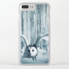 Snowy Owl In Flight Clear iPhone Case