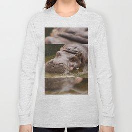 Huge bored Hippopotamus Long Sleeve T-shirt