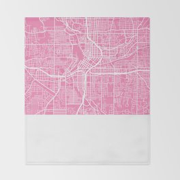 Atlanta map pink Throw Blanket