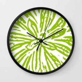 Chartreuse Flower Linocut Textile Wall Clock