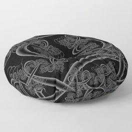 Neutral Gray on Black Fractal Floor Pillow