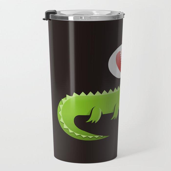 Alligator in Love Travel Mug