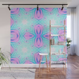 Pink & Blue Star Explosion Pastel Pattern Wall Mural