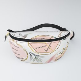 Tropical mood. Quotes and palm leaves Fanny Pack