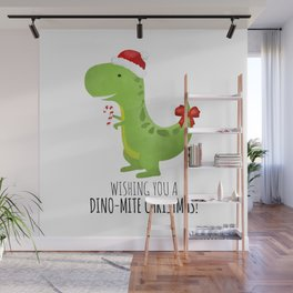 Wishing You A Dino-Mite Christmas Wall Mural