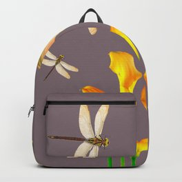 GOLD CALLA LILIES & DRAGONFLIES ON GREY Backpack