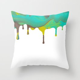 Mint Green Abstract Paint dripping Throw Pillow