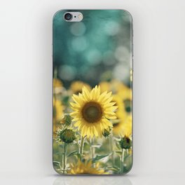 Sunflower Flower Photography, Yellow Teal Nature Turquoise Aqua Blue Green iPhone Skin