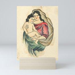 Vintage Tattoo Design with Madonna and Child Mini Art Print