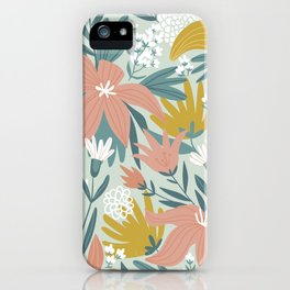 Seamless Pastel Colorful Floral Pattern Mystical Fantasy iPhone Case