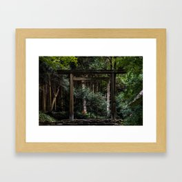 Torii in the forest (japan) Framed Art Print