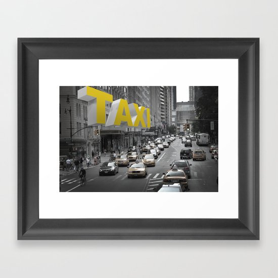 New York Taxi in the air Framed Art Print
