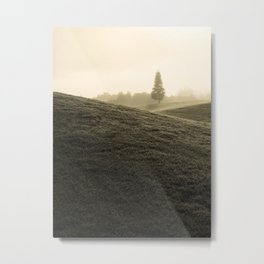 Tree in fog from a distance Metal Print