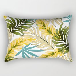 Botanical seamless tropical pattern with bright leaves and plants on a delicate background. Tropical botanical. Beautiful exotic plants. Trendy summer Hawaii print. Rectangular Pillow