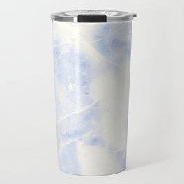 Blue and White Marble Waves Travel Mug