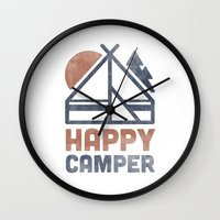 backpack Wall Clocks featuring Happy Camper by Zeke Tucker