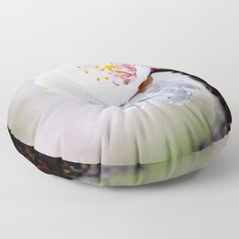 Wet Japanese Apricot Flowers On A Rainy Spring Day Floor Pillow