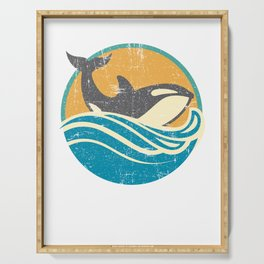 Retro Distressed Killer Whale Design for Orca Lovers Serving Tray
