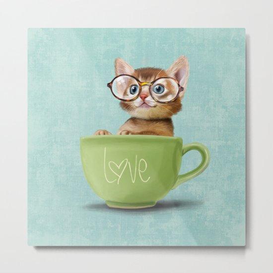 Kitten with glasses Metal Print