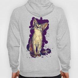 abyssinian cat kitten vector art foggy night Hoody