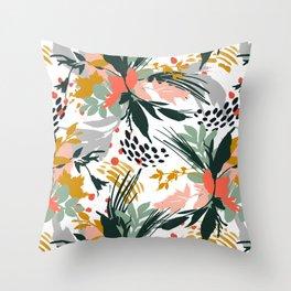Botanical brush strokes I Throw Pillow